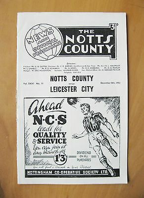NOTTS COUNTY v LEICESTER CITY 1951/1952 *VG Condition Football Programme*