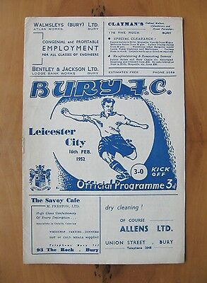 BURY v LEICESTER CITY 1951/1952 *Excellent Condition Football Programme*