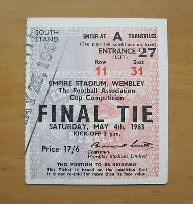 1963 FA Cup Final LEICESTER CITY v MANCHESTER UNITED Excellent Condition Ticket