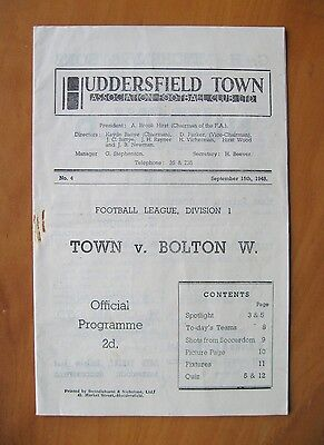 HUDDERSFIELD TOWN v BOLTON WANDERERS 1948/1949 Exc Condition Football Programme