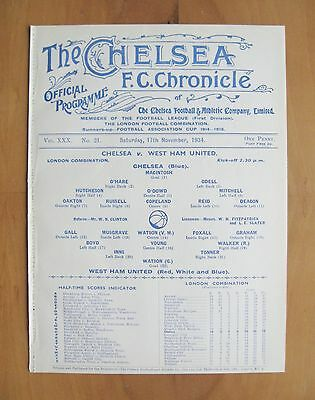 CHELSEA v WEST HAM UNITED Reserves 1934/1935 *Exc Condition Football Programme*