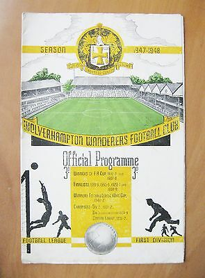 WOLVES v ARSENAL 1947/1948 *Excellent Condition Football Programme*