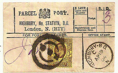 1904 KEVII 3d HIGHBURY RAILWAY STATION PARCEL POST LABEL LONDON N