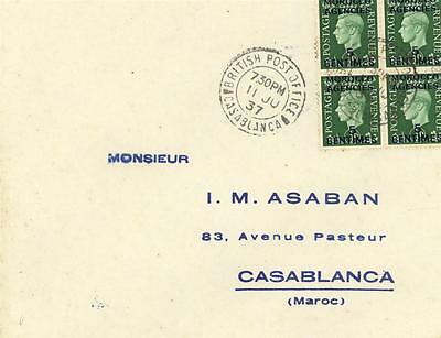 MOROCCO AGENCIES GEORGE V1 5c  BLOCK ON COVER POSTED CASABLANCA