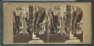 Original Early Stereoview Of Lady Chapel, Fountains Abbey, Ripon, Yorkshire.