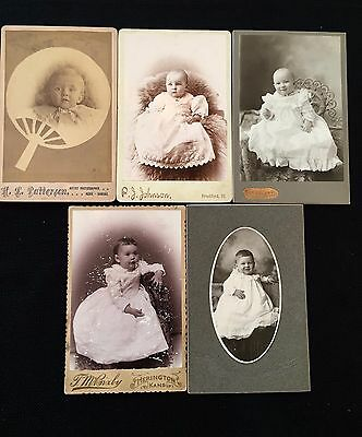 Vintage LOT Cabinet Card Photographs INFANTS CHILDREN BABIES 1800s