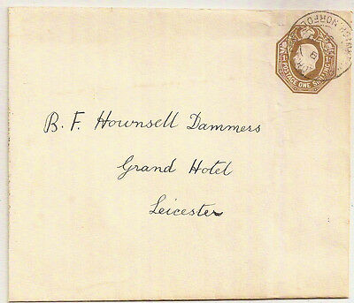 1931 Kgv One Shilling Embossed Postal Stationery Env Used Norfolk->Leicester