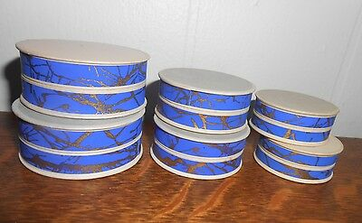 6 VINTAGE 20's DECO ERA PHARMACY APOTHECARY UNUSED ROUND PILL BOXES PAPER BLUE