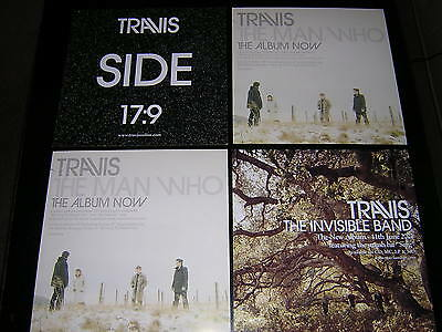 "4 Travis Promotional 12""x12"" Cards - The Invisible Band, Side +2"