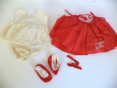 Vintage 1962 Mattel Chatty Baby Outfit Dress Underdress Booties Hair Bow