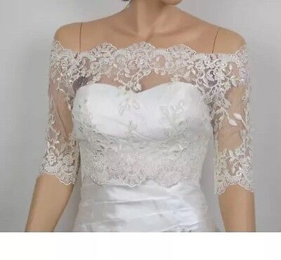 Off-Shoulder ivory Lace bolero jacket Half Sleeves Wedding Jacket Top Size 10