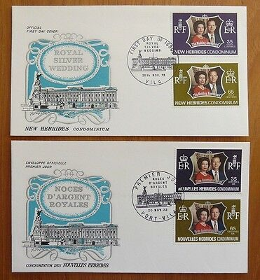 1972 Silver Wedding FDC's x 22 different, inc. New Hebrides (both languages)