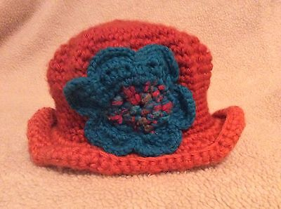 Handmade Crocheted Baby Toddler Girl Winter Hat Size 18-24 months Orange Blue
