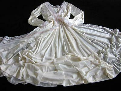 Vintage Long Lacy Silky Nylon Peignoir Set Ivory S/M Nightgown + Robe NEW