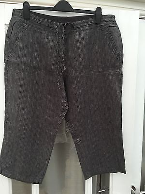 Marks And Spencer Capri Cropped 3/4 Trousers Linen Black Size 18 Exc Cond