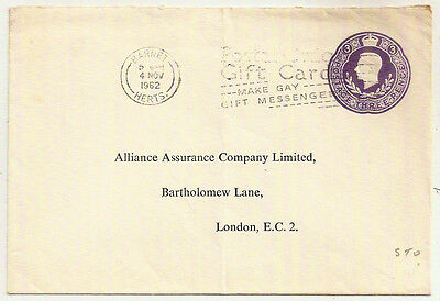 1962 KGVI 3d STO ENV BARNET->ALLIED ASSURANCE CO POSTAL GIFT CARD GAY MESSENGER