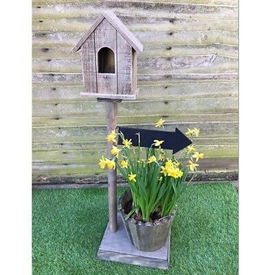 Wooden Birdhouse with Planter and Chalkboard Arrow