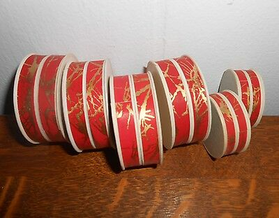VINTAGE 20's DECO PHARMACY APOTHECARY UNUSED ROUND PILL BOXES FANCY PAPER RED