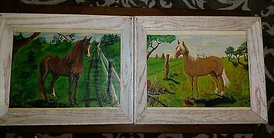 2 Handpainted Horse Pictures Lot Wood Framed Paintings Farmhouse Equine 17 x 14