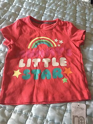 Mothercare Girls T-shirt 9-12 Months BNWT
