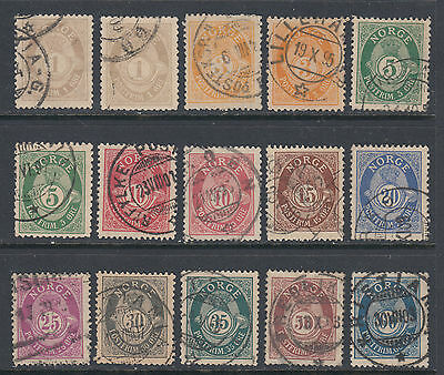 Norway 37//58 1883-1908 Roman Letters Post Horn Issue 20 Stamps SCV $73.70