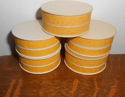 5 VINTAGE 20's DECO PHARMACY APOTHECARY UNUSED ROUND PILL BOXES PAPER YELLOW