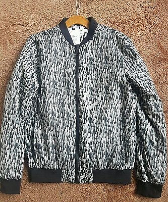 Topman Men's Black And White Bomber Zip-Up Jacket New With Labels Size Xl