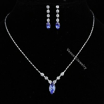 Bridal Bridesmaid Wedding Blue Rhinestone Crystal Necklace Earrings Set N324