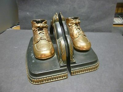 Vintage Baby Shoes Bookends, All Bronze, Good Condition, Unmarked.