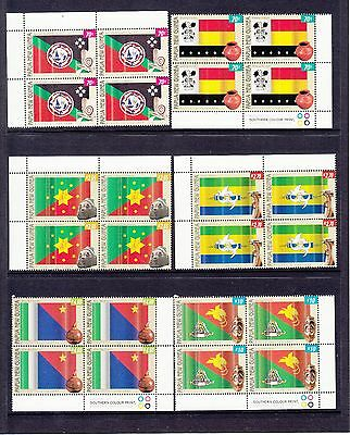 PAPUA NEW GUINEA PROVINCIAL 2004 FLAGS SET OF 6 blocks of 4. FINE MINT MUH/MNH