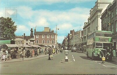 RARE OLD POSTCARD- HIGH STREET & MARKET - BEDFORD C.1975 Vintage Cars & Bus
