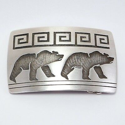 Lawrence Saufkie Hopi Overlay Silver Bear Buckle