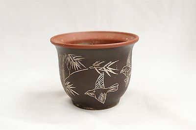 Great Chinese Yixing Birds in Flight Bamboo Pottery Planter Signed
