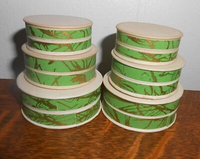 6 VINTAGE 20's DECO PHARMACY APOTHECARY UNUSED ROUND PILL BOXES PAPER GREEN