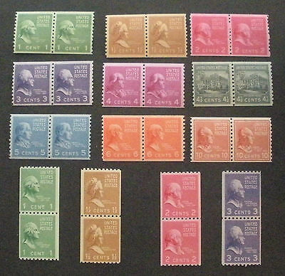 US Postage Stamps Mint OG NH PREXIE COIL PAIRS Scott 839-851 Nice Complete Set