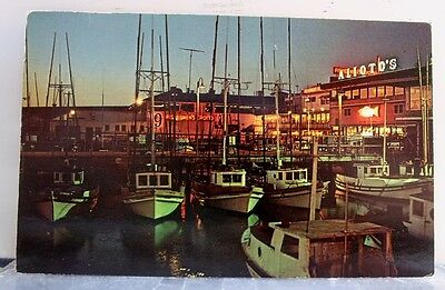 California CA San Francisco Fisherman's Wharf Night Postcard Old Vintage Card PC