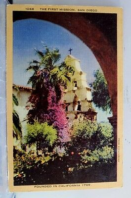California CA First Mission San Diego Postcard Old Vintage Card View Standard PC
