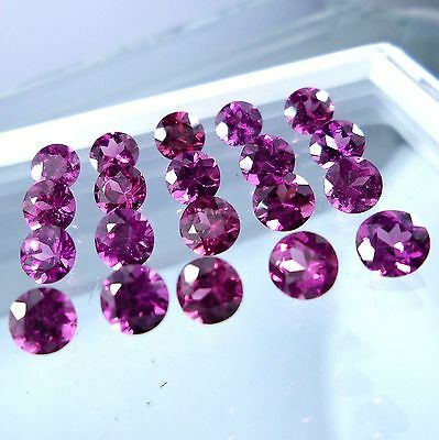 5 PIECES OF 3mm ROUND-FACET PURPLE/RED NATURAL RHODOLITE GARNET GEMS £1 NR!