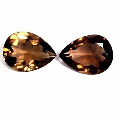 2 PIECES OF 8x6mm PEAR-FACET NATURAL AFRICAN SMOKEY QUARTZ GEMSTONES £1 NR!