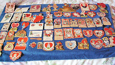 62 LOT ANTIQUE 1930s 1940s VALENTINES DAY CARDS BE MY VALENTINE 80 YEARS AGO WOW