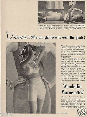 1955 WARNERS Wonderful Warnerettes GIRDLE Matching BRA Vintage LINGERIE print Ad