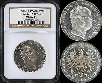 German States (Prussia) 1 Taler 1860-A (Ngc Ms62Pl) *extremely Rare Prooflike*