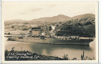 USS Lexington in Panama Canal, Real Photo RPPC Postcard