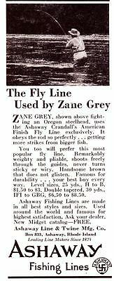 """1931 Vintage ad Ashway Fishing Lines """"The Fly Line Used by Zane Grey"""" Photo"""