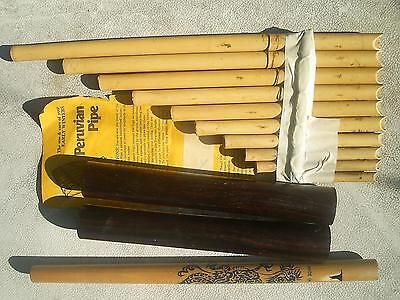 3 Primitive Music Instruments Peruvian 10 Bamboo Pipes+Japan Flute+Wood Knockers