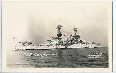 USS California Real Photo RPPC Postcard