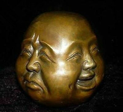 Rare chinese tibet brass 4 faces buddha head statue