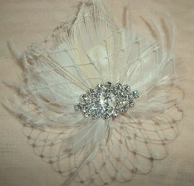 Bridal Fascinator, Wedding Hair Clip, Feather Hairpiece, Ivory Peacock Feather