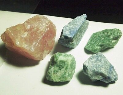 QUARTZ-rough blue,Green-pink,specimen-cab(5pc)800.87ct,5.65oz,QU-B73D,42x40x38mm