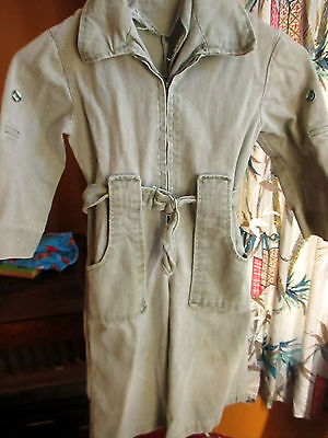Sz 5 22x13 true Vtg 70s Boys GIRLS HANDMADE BELTED COVERALLS GREEN HIPPIE JEANS